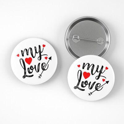 My Love Romantik Buton Rozet - Thumbnail