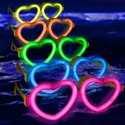 Neon Işıklı Kalp Parti Gözlüğü