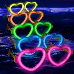 Neon Işıklı Kalp Parti Gözlüğü - Thumbnail