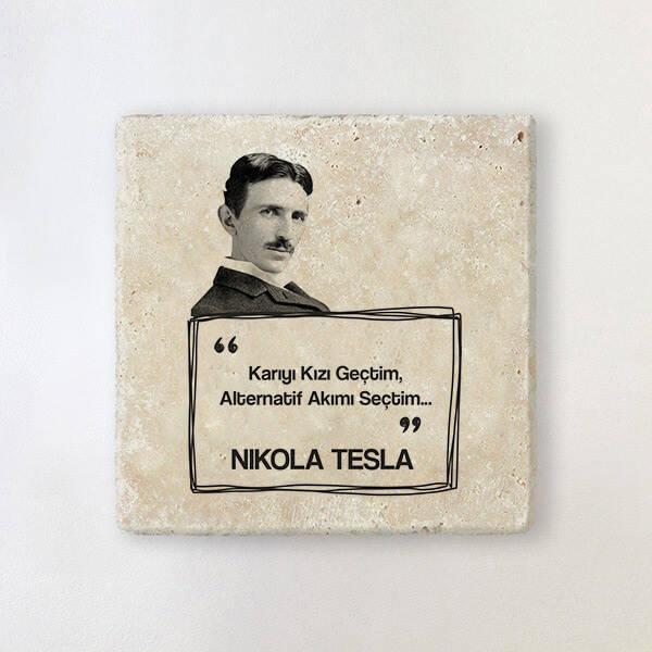 Nikola Tesla Esprili Taş Bardak Altlığı