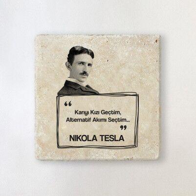 - Nikola Tesla Esprili Taş Bardak Altlığı
