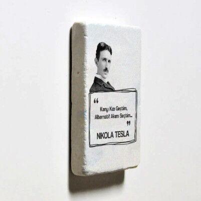 Nikola Tesla Esprili Taş Buzdolabı Magneti - Thumbnail