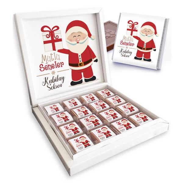 Noel Baba Temalı İsme Özel Kutu Çikolata