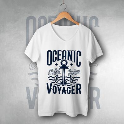 - Ocean Tasarımlı Unisex Tişört