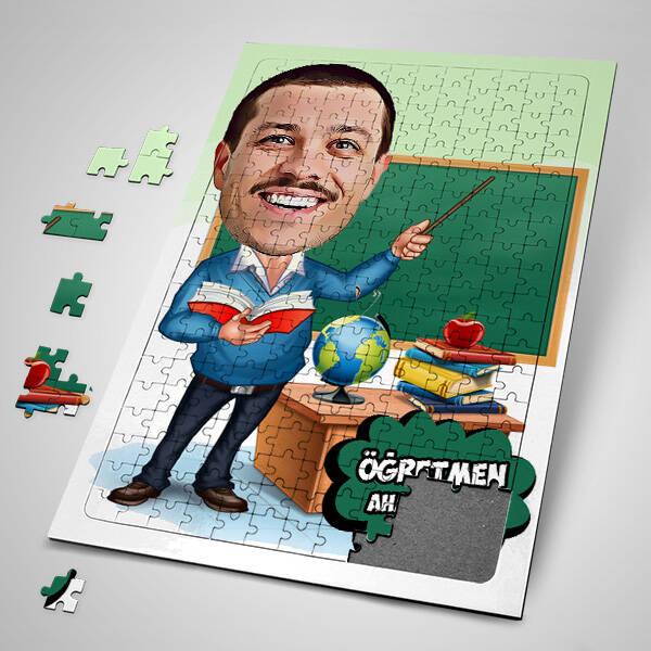 Öğretmen Karikatürlü Kişiye Özel Puzzle