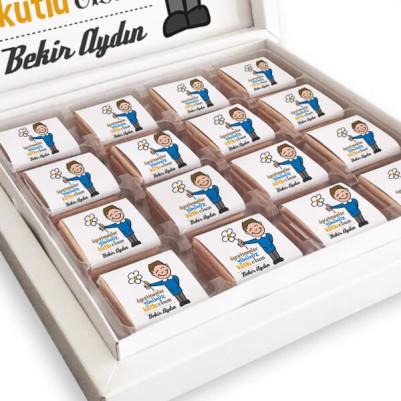 Öğretmenler Gününüz Kutlu Olsun Çikolata Kutusu - Thumbnail