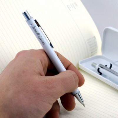 Öğretmenlere Hediye Beyaz Kutuda Kalem Seti - Thumbnail