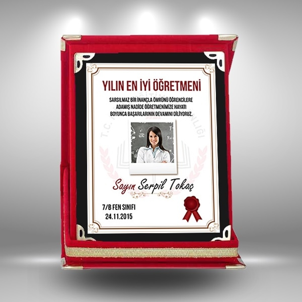 Öğretmenlere Özel Fotoğraf ve Mesajlı Plaket