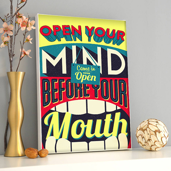Open Your Mind Retro Kanvas Tablo