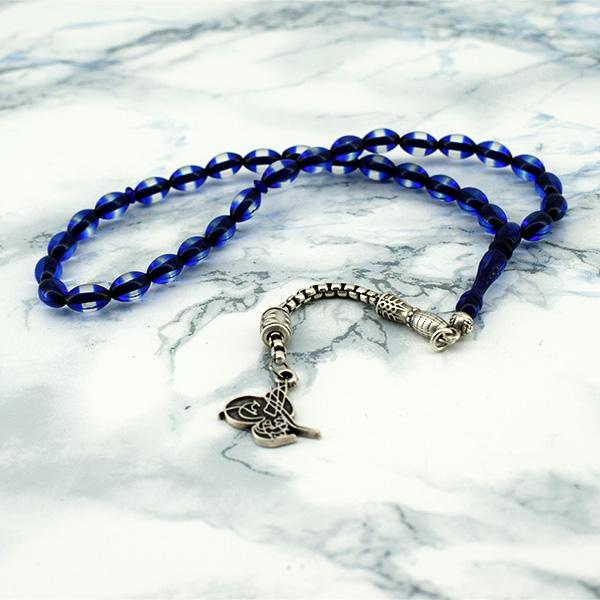 Osmanlı Tuğralı Tespih Mavi Taşlı