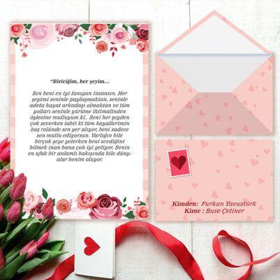 - Özel Tasarım Sevgiliye Aşk Mektubu