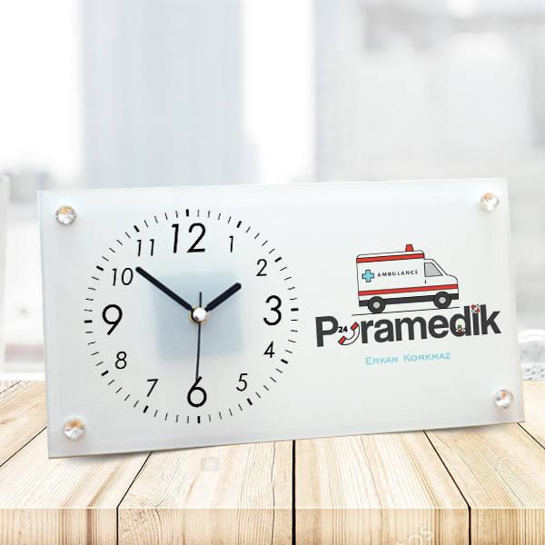 Paramedike Hediye Cam Masa Saati