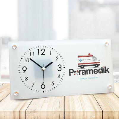 - Paramedike Hediye Cam Masa Saati