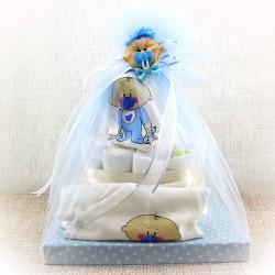 - Pasta Şeklinde Mavi Bebek Bezi Hediye Sepeti