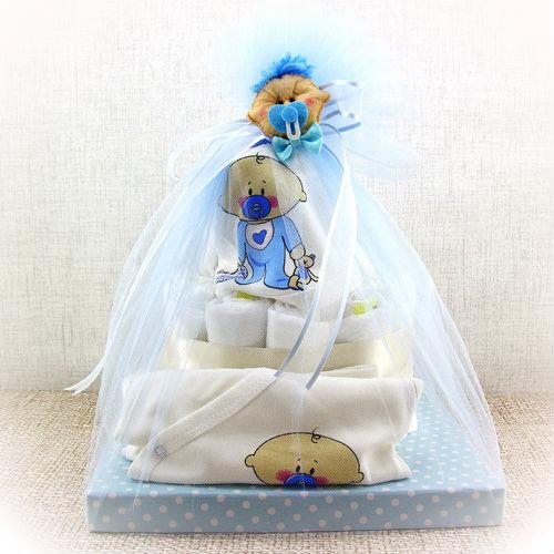 Pasta Şeklinde Mavi Bebek Bezi Hediye Sepeti