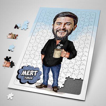 - Patronumun Kahve Keyfi Karikatürlü Puzzle
