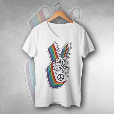 - Peace Tasarımlı Unisex Tişört