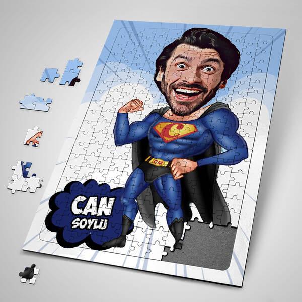 Pelerinli Süper Kahraman Karikatürlü Puzzle