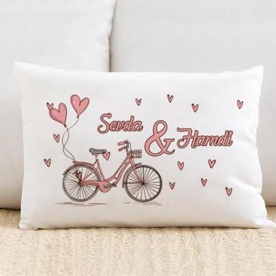 - Pembe Bisiklet ve Kalpler Dikdörtgen Yastık