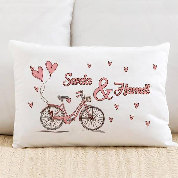 Pembe Bisiklet ve Kalpler Dikdörtgen Yastık