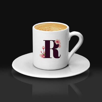 - Pembe Lale Harfli Kahve Fincanı