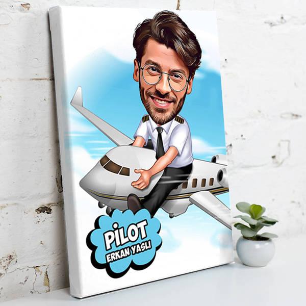 Pilot İçin Karikatürlü Kanvas Tablo