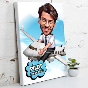 - Pilot İçin Karikatürlü Kanvas Tablo