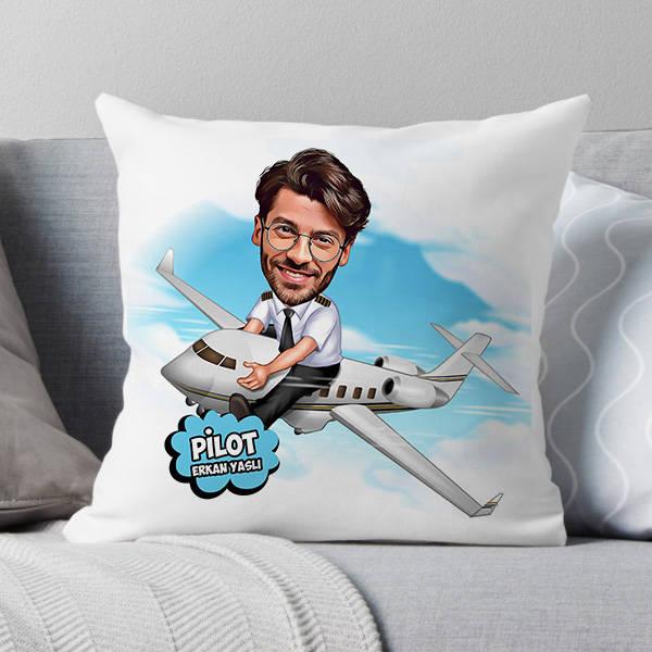 Pilot Karikatürlü Yastık