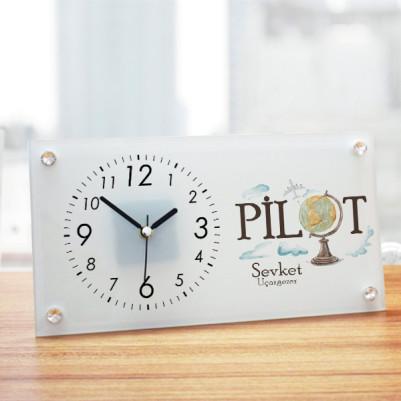 - Pilota Hediye Cam Masa Saati