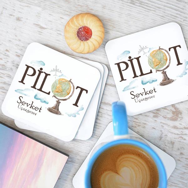 Pilotlara Özel Bardak Altlığı 4'lü Set