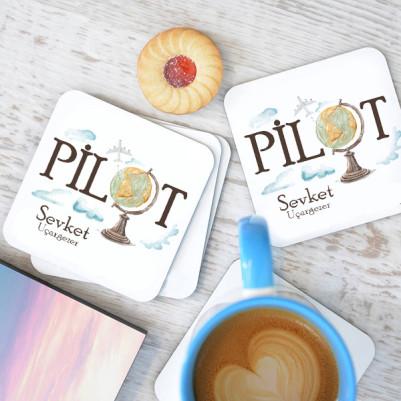 - Pilotlara Özel Bardak Altlığı 4'lü Set