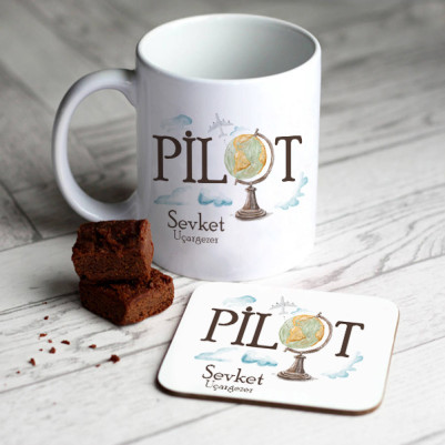 - Pilotlara Özel Kupa ve Bardak Altlığı