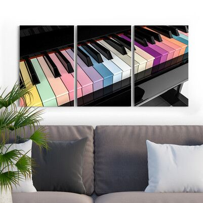 Piyano Tasarımlı 3 Parça Kanvas Tablo - Thumbnail