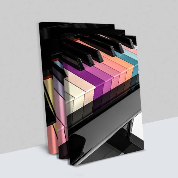 Piyano Tasarımlı 3 Parça Kanvas Tablo