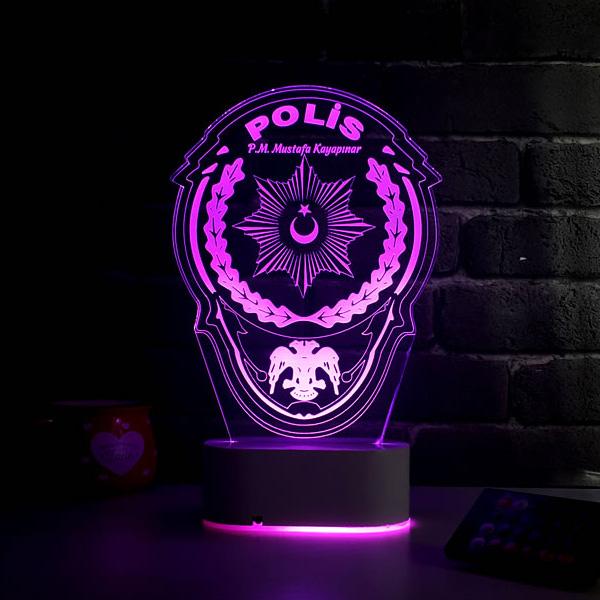 Polis Armalı 3D LED Lamba