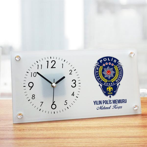 Polis Armalı İsme Özel Cam Masa Saati
