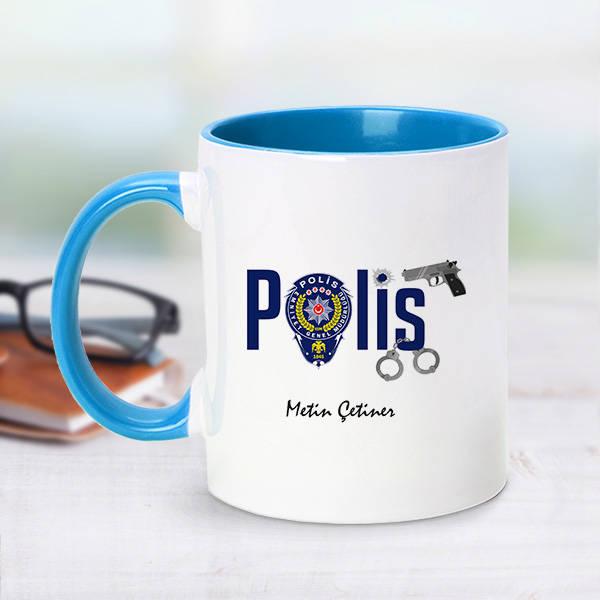 Polis İçin Mavi Kupa Bardak