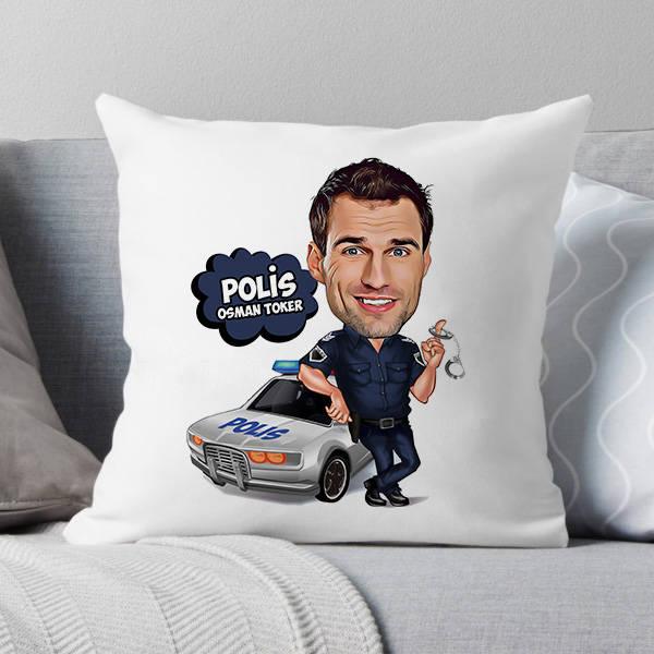 Polis Karikatürlü Yastık