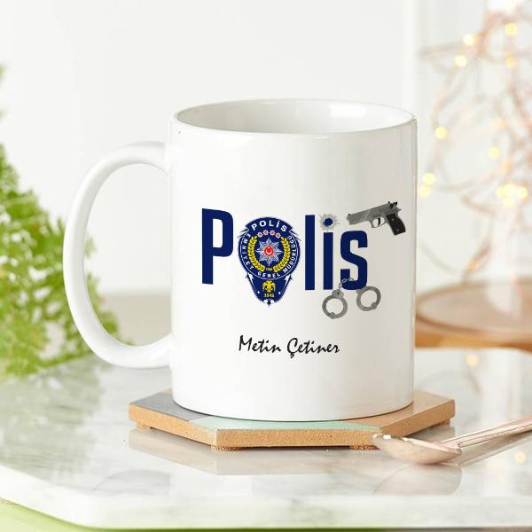 Polis Teşkilatı Armalı Kupa Bardak