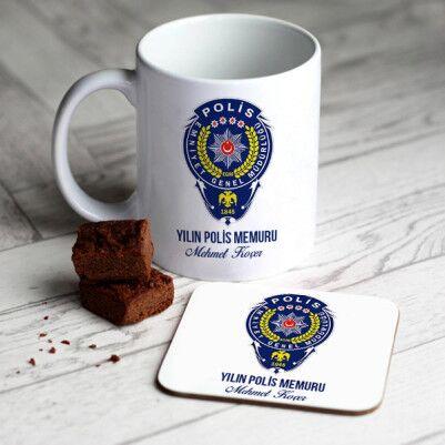 - Polislere Özel Armalı Kupa ve Bardak Altlığı
