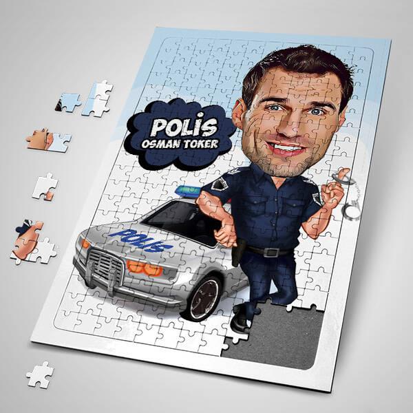Polislere Özel Karikatürlü Puzzle