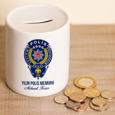 - Polislere Özel Mesleki Logolu Kumbara