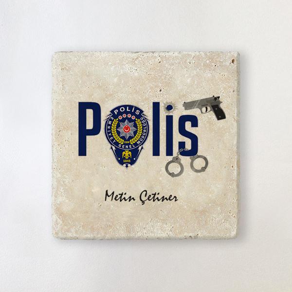 Polislere Özel Taş Bardak Altlığı