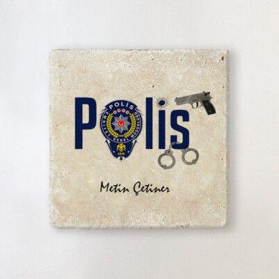 - Polislere Özel Taş Bardak Altlığı