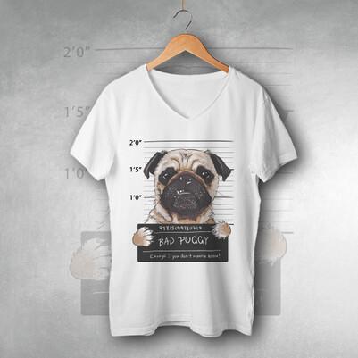 - Puggy Dog Tasarım Unisex Tişört