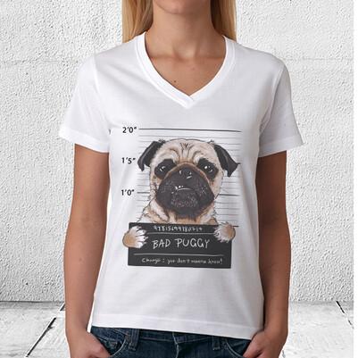 Puggy Dog Tasarım Unisex Tişört - Thumbnail