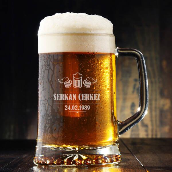 Pup Tasarımlı İsme Özel Bira Bardağı