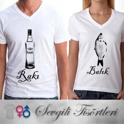- Rakı ve Balık Sevgili Tişörtü