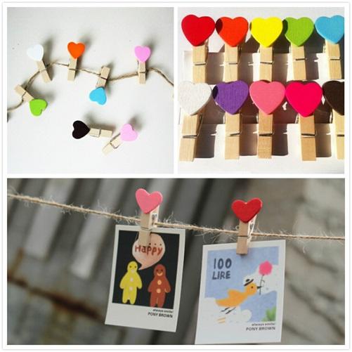 Renkli Kalp Fotoğraf Mandalları