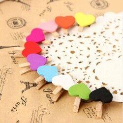 Renkli Kalp Fotoğraf Mandalları - Thumbnail